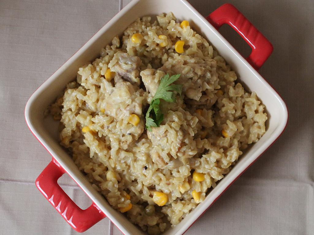 Arroz integral com frango e curry