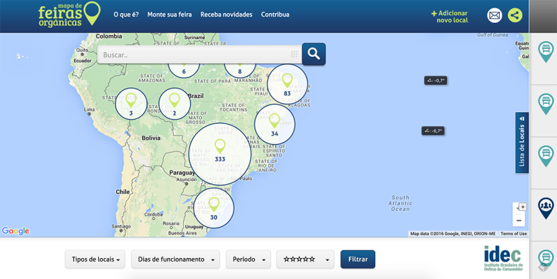 Mapa das Feiras Orgânicas idealizado pelo Idec. Post completo em http://142.93.187.123.