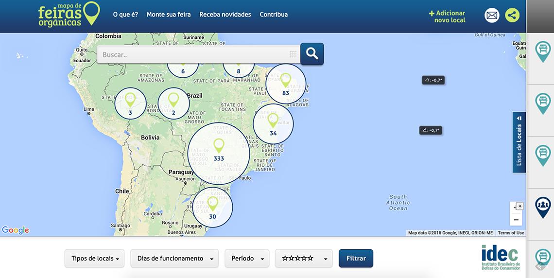 Mapa das Feiras Orgânicas idealizado pelo Idec. Post completo em https://gordelicias.biz/.