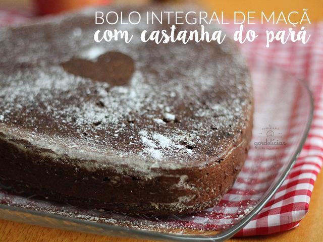 Bolo Integral de Maçã com Castanha do Pará. Receita completa em http://gordelicias.biz.