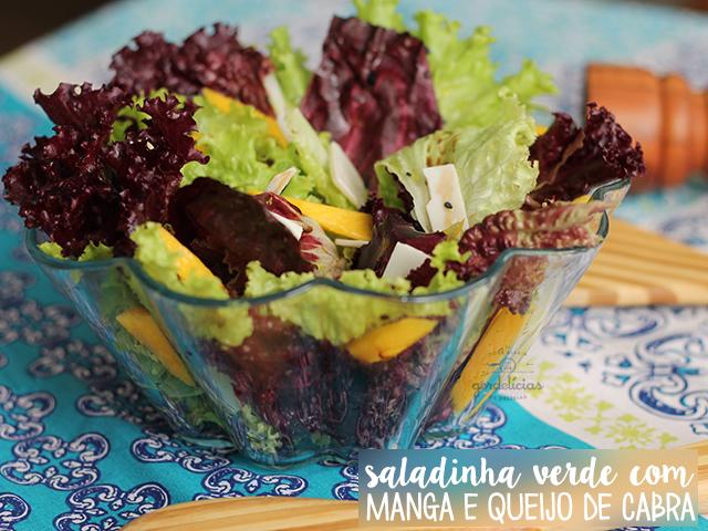 Salada Verde com Manga e Queijo de Cabra. Receita completa e saudável em http://gordelicias.biz.